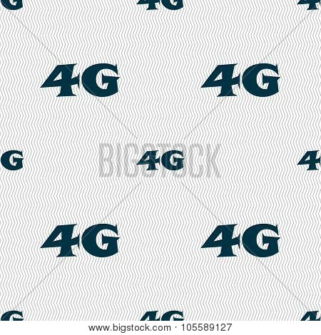 4G Sign Icon. Mobile Telecommunications Technology Symbol. Seamless Abstract Background With
