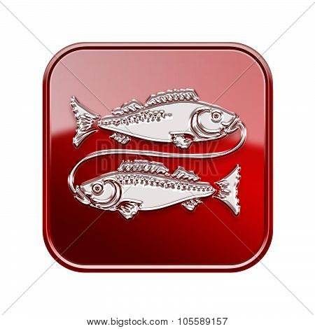 Pisces Zodiac Icon Red, Isolated On White Background