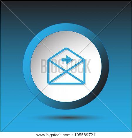 mail right arrow. Plastic button. Raster illustration.