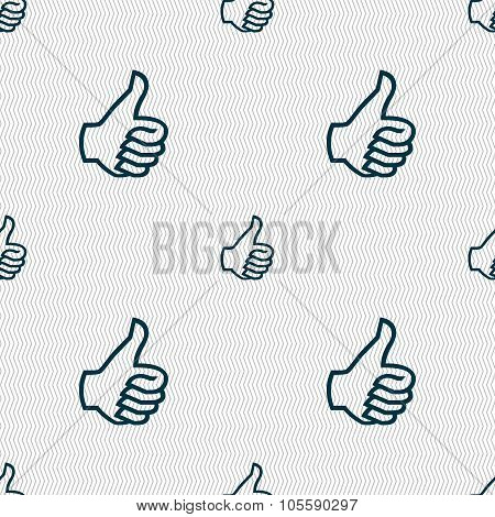 Like Sign Icon. Thumb Up Symbol. Hand Finger-up. Seamless Abstract Background With Geometric