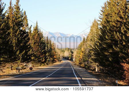 The Road On Steep Slopes Of Mountains.