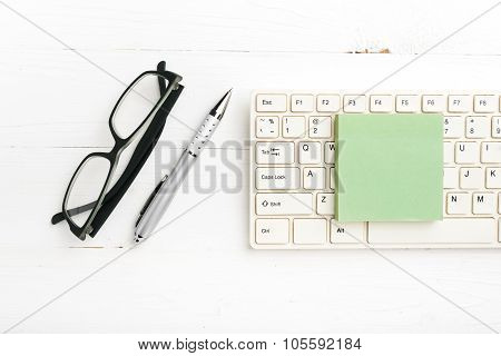 Computer And Sticky Note