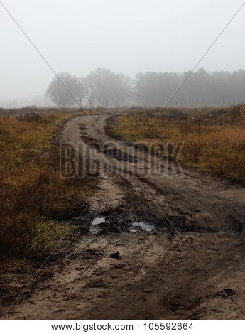 Broken Road In Fog