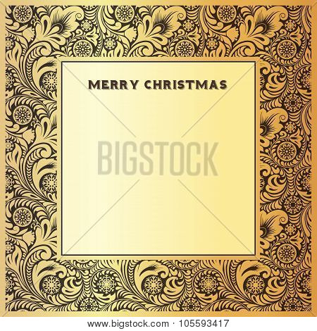 Gold vintage frame for congratulations on Christmas and New Year