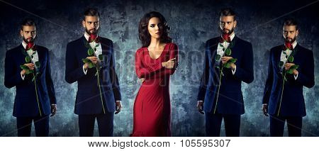 Young woman and intrusive lover concept. Elegant evening clothing.