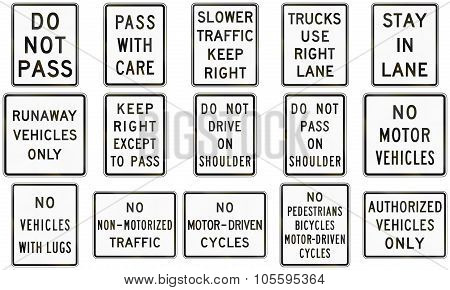 Collection Of Text-only Regulatory Signs Used In The Usa