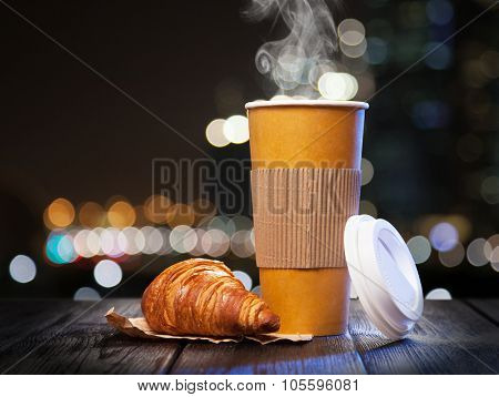 Takeaway coffee in a paper cup