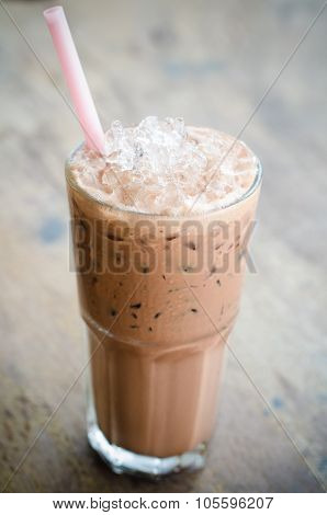 Iced Cocoa In A Glass On Wood Background, Vintage Cocoa