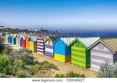 Brighton Beach bathing boxes, Melbourne, Australia.  Overlooking Port Phillip Bay.