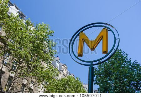 Modern metro symbol of the underground transit system in Paris