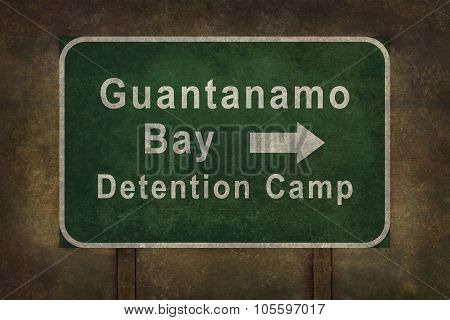 Guantanamo Bay Detention Camp Roadside Sign Illustration With Directional Arrow