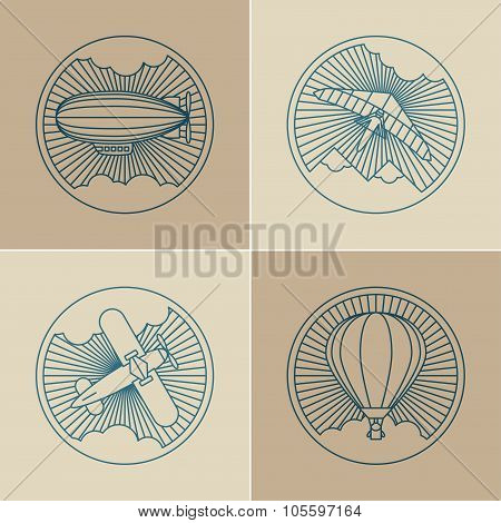 Set of round logo icons. Air transport and flying.