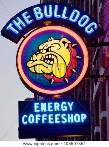 Sign of Cannabis coffee shop