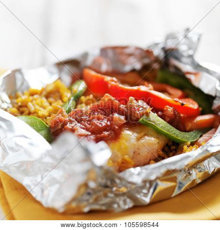 baked mexican chicken fajitas with spanish rice in foil packet