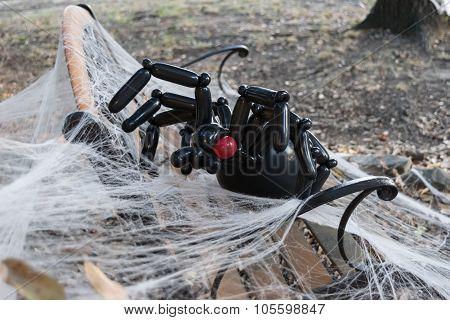 Creepy, Black, Balloon Spider Halloween Decoration On Web 1