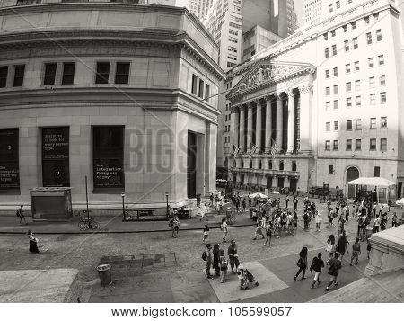 NEW YORK,USA - AUGUST 13,2015 : Tourists at the New York Stock Exchange on Wall Street in New York City