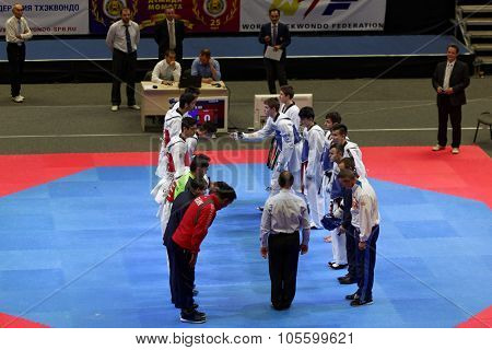 ST. PETERSBURG, RUSSIA - OCTOBER 17, 2015: Junior team salutation before the match Russia vs Iran during the martial arts festival Baltic Sea Cup in Sibur Arena. Iran won the match