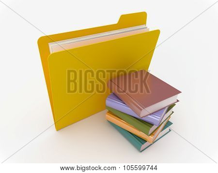 Yellow Folder With Book Stack