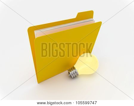 Yellow Folder With Lightbulb, Idea Concept