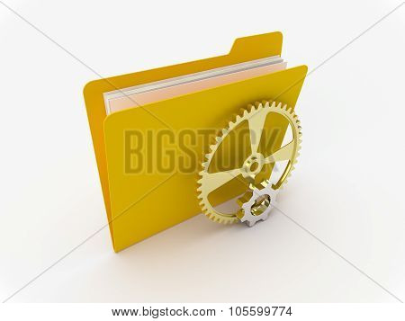 Yellow Folder With Metallic Gears