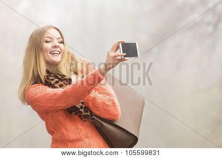 Happy Fashion Woman In Park Taking Selfie Photo.