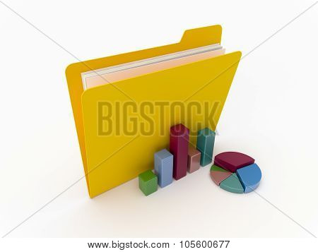 Yellow Folder With Graphics And Chart