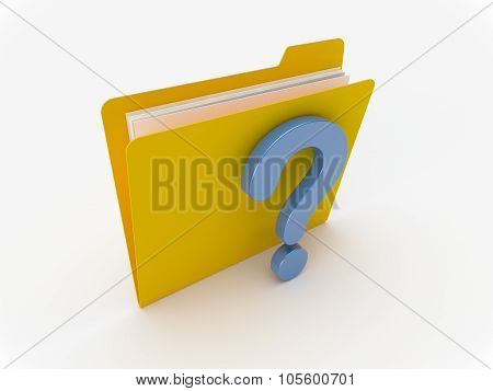 Yellow Folder With Blue Question Mark