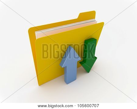 Yellow Folder With Upload And Download Arrow Symbols