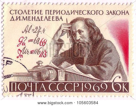 Ussr - Circa 1969: A Stamp Printed In Ussr Shows D.i. Mendeleev (1834-1907) And Formula With Author'