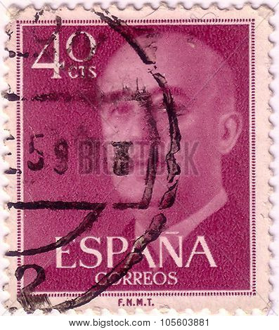 Spain - Circa 1961: A Stamp Printed In Spain Shows Francisco Franco, Circa 1961
