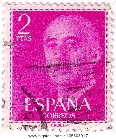 Spain - Circa 1954: Stamp Printed By Spain, Shows Franco, Circa 1954