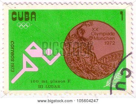 Cuba - Circa 1973: A Stamp Printed By The Cuban Post Is Devoted To The Olympics Games In Munich, Sho