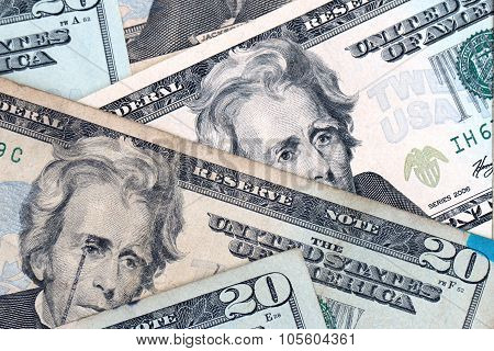 A Background Of Crisp Twenty Dollar Bills