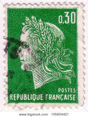 France - Circa 1967: A Stamp Printed In France, Shows Marianne Is A National Emblem Of France, Circa