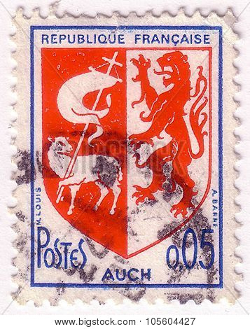 France - Circa 1969: A Stamp Printed In France Shows Coat Of Arms Of Auch (capital Of Gascony) In Fr