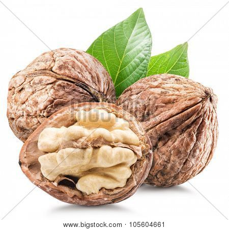 Walnuts with leaves. File contains clipping paths.