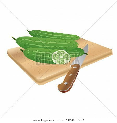 fresh cucumbers on a cutting board with a knife, vector illustration