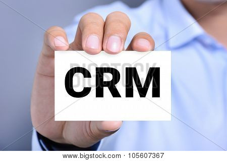 Crm Letters (or Customer Relationship Management) On The Card Shown By A Man