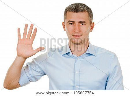 five fingers. portrait man