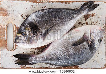 Fresh Dorado Fish On A Cutting Board.