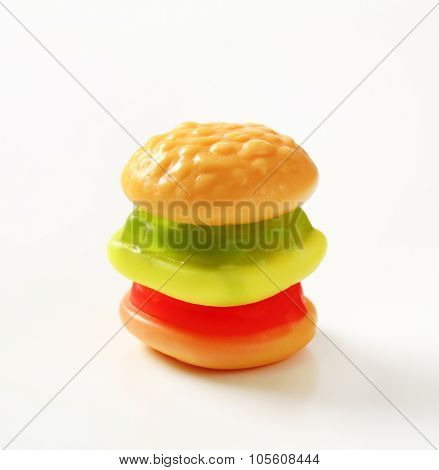 gummy hamburger candy on white background