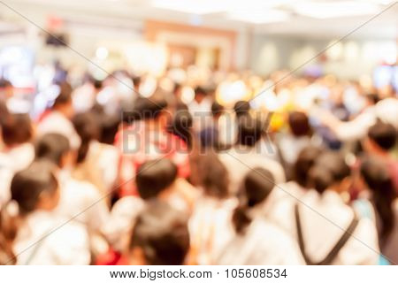 Blurred Photo Of Crowd People In Press Conference Event Hall, Business Concept.