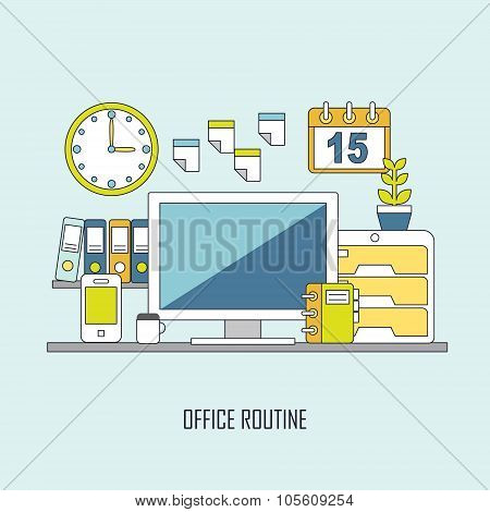 Routine Office In Flat Thin Line Style