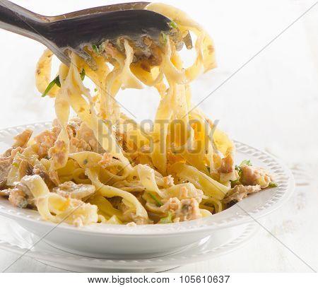 White Plate Of Italian Pasta.