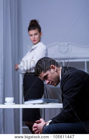 Despair Employee And His Boss