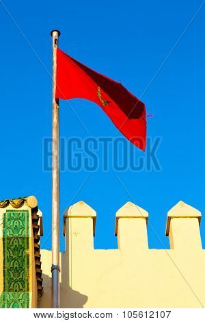 Tunisia  Waving Flag In The  Battlements  Wave