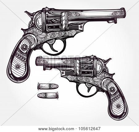 Vintage ornate pistol illustration.