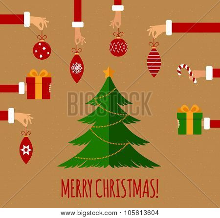 Merry christmas concept in flat style