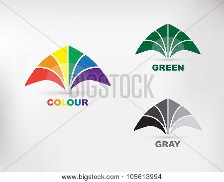 Vector illustration of abstract geometric rainbow flower