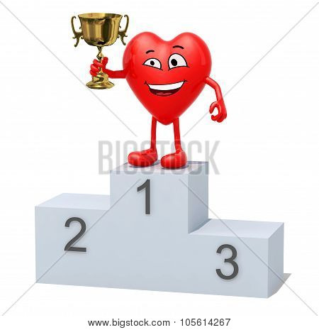 Heart With Winner Cup On Sports Victory Podium
